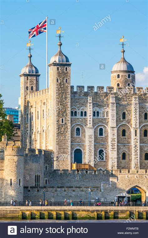 The white tower and castle walls Tower of London view City