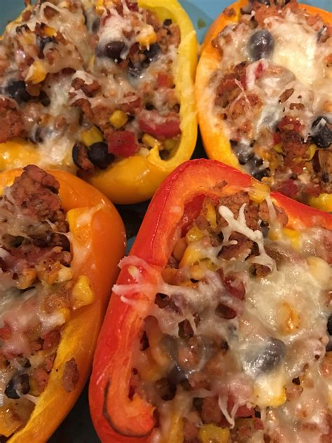 Ground Chicken Stuffed Peppers   Recipe   Stuffed peppers
