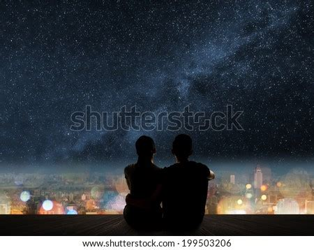 Silhouette Young Asian Couple Sit On Stock Photo 199503206